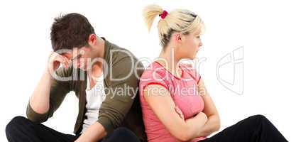 Angry couple against white background