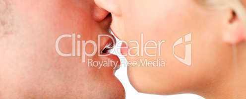 Closeup of couple kissing