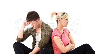 Angry boy and girl over white background