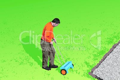 Gärtner bei der Rasenpflege