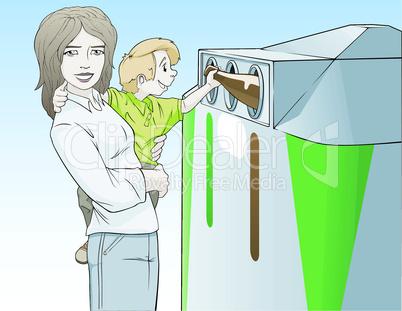 Frau mit Kind am Altglascontainer