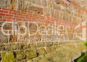 Alte Backsteinmauer -.Old Church wall in Lower Saxony.