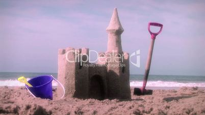 (1001) Beach Sand Castle and Toys Summer Ocean Vacation