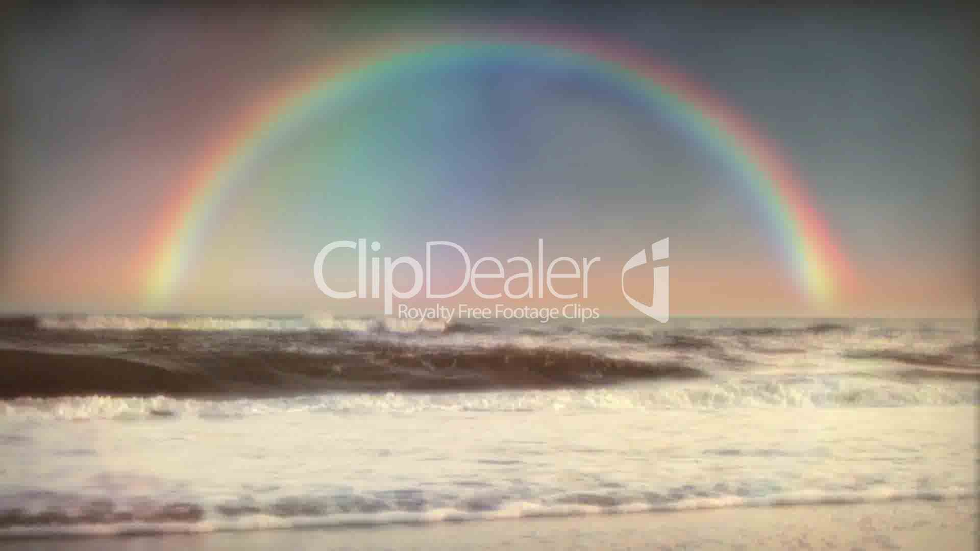 1032 Full Rainbow And Ocean Surf Waves After Sunset Rain Storm Royalty Free Video Stock Footage