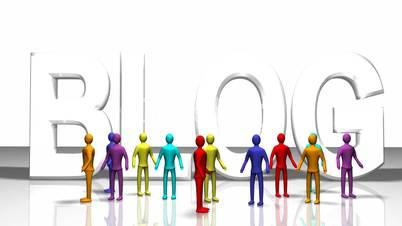 Animierte Menschen vor dem Wort Blog