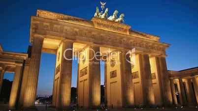 Berlin, Brandenburger Tor, Tag Nacht Zeitraffer.