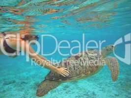 Taucherin und Wasserschildkröte