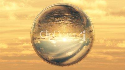 (1027) Ocean and Sunset through Glass Crystal Ball HD Video Animation