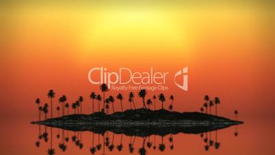 (1071) Looping Tropical Island Sunset with Palms and Ocean Surf Animation