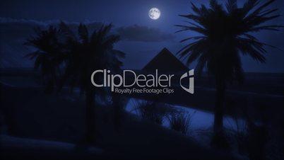 (1073) Moonlight Desert sand Sunset Pyramid Oasis with Palms HD Video Animation