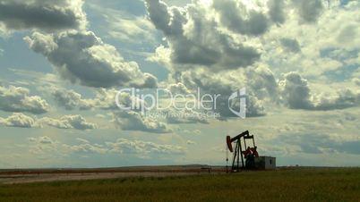 Oil pump jack in wheat field 7