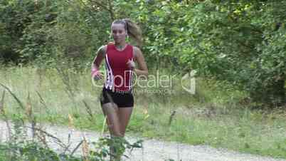 HD1080i Wonderful sexy girl jogging in forest