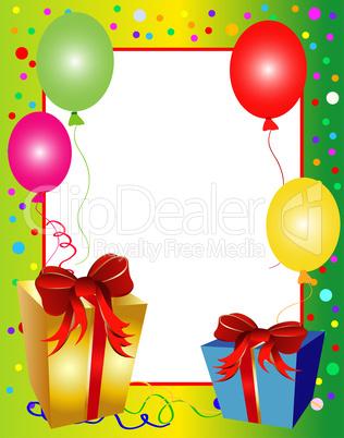 Geburtstagskarte Rahmen mit Geschenken: Lizenzfreie Bilder und Fotos