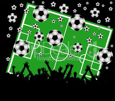 fussballfeld mit fans