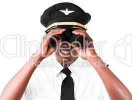 Pilot looking through Binoculars