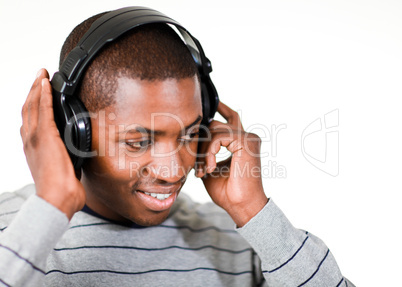 young adult listening to music