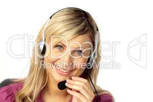 Business woman talking on a headset