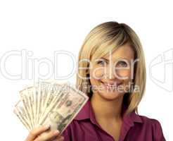 happy woman holding dollars