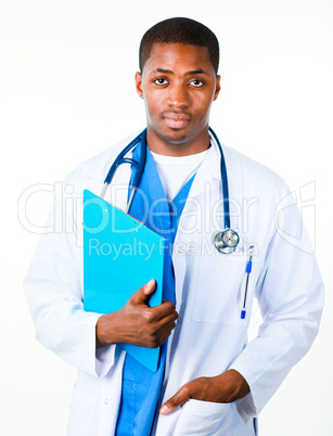 Close-up of an Confident doctor holding a clipboard