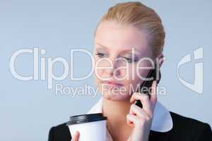woman talking on the phone holding