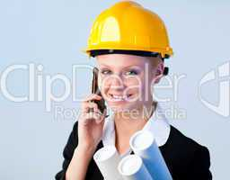 Forewoman talking on the phone