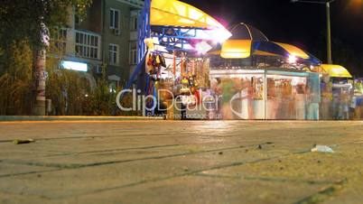 HD time lapse. panorama of night trade.