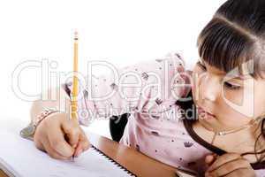 Cute girl doing homework