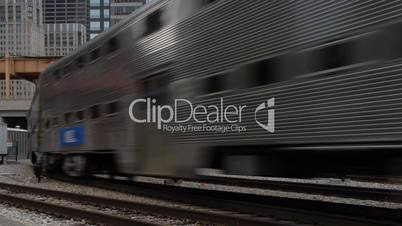 City trains at rush hour time lapse