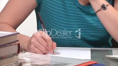 woman with homework