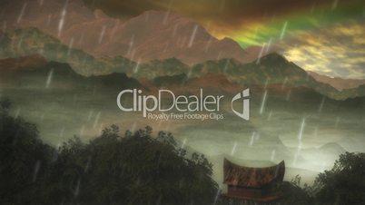 (1075) Looping Rainforest Tribal Lodge Rainbow HD Video Animation