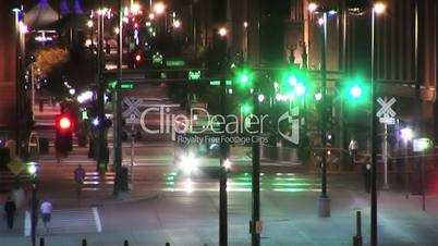 (1025) City Night Life People and Traffic Denver HDV Video