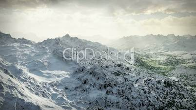 (1058) Snow Mountains Wilderness Glaciers Sunset HD Video Animation