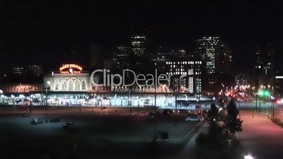 (1026) City Night Life People, Metro Train and Traffic Denver HDV Video