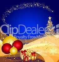 blauer weihnachtshintergrund mit christbaum