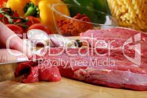 Rindfleisch schneiden