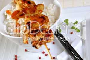 Spieß auf Reis