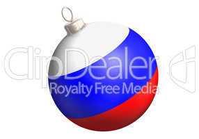 christbaumkugel mit russischer flagge