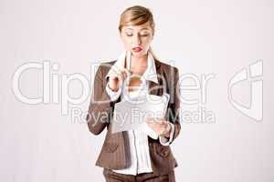 young business woman with business papers
