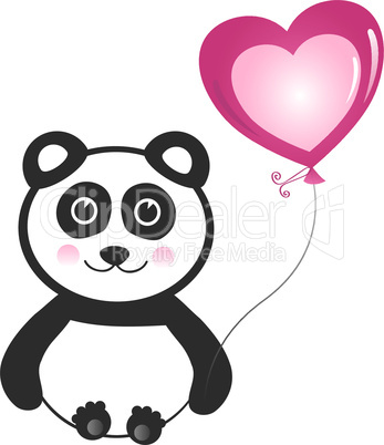Panda with Heart Balloon