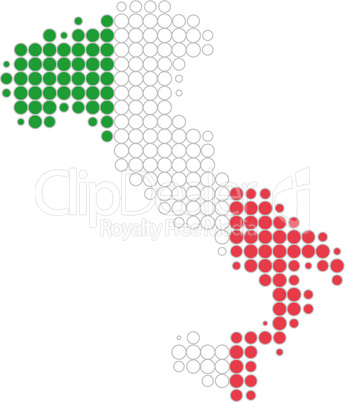 Karte und Fahne von Italien