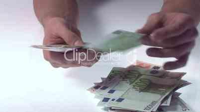 Stapel Geldscheine zählen
