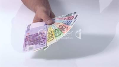 Fächer aus Geldscheinen - mit Silhouette