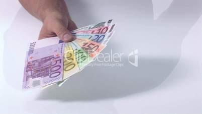 Fächer aus Geldscheinen - Schwenk rein von rechts