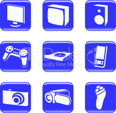 Electronics - vector web icons (buttons)