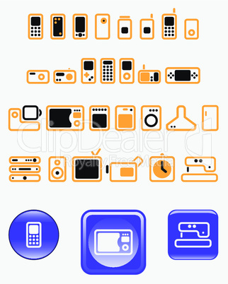 Home electronics - set of vector icons (buttons)