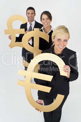 Businesswoman and Team With Currency Symbols Euro Dollar and Pou