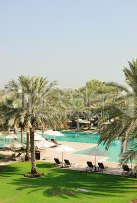 Swimming pool in luxurious hotel, Dubai, UAE