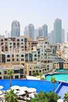 Swimming pool in Dubai downtown, UAE