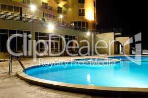 SPA swimming pool in night illumination, UAE