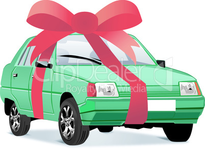 Vector illustration of car as a gift